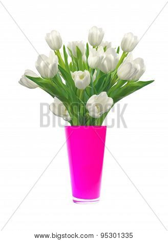 Bouquet Of White Tulips In Pink Vase Isolated On White Background