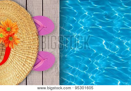 Swimming Pool, Wooden Deck And Pink Beach Shoes With Hat