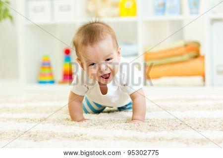 funny crawling baby boy