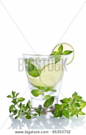 Mohito Drink With Ice, Mint And Lime On White Background