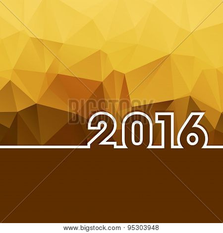 2016 New Year On Golden Polygonal Background With Copy-space