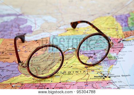 Glasses on a map of USA - West Virginia