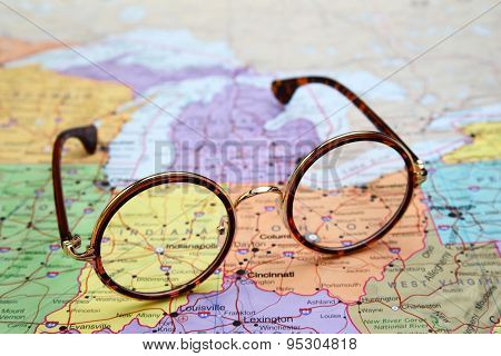 Glasses on a map of USA - Indiana