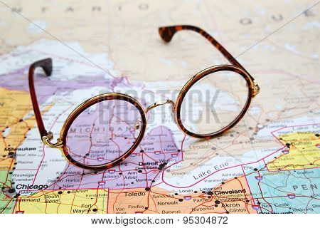 Glasses on a map of USA - Michigan