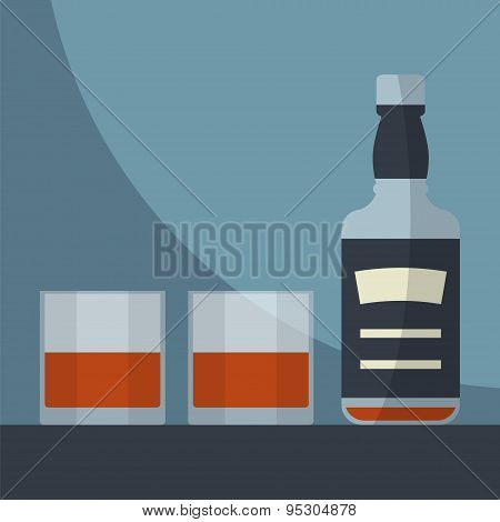 Whiskey Empty Bottle With Two Glasses Filled.