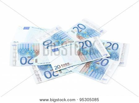 Pile of twenty euro notes