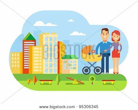 Happy Young Family with Baby on City Landscape
