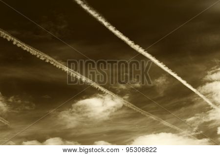 Sepia Sky With Contrails