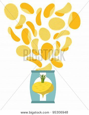 Potato chips taste of turnips. Packaging, bag of chips on a white background. Chips flying out from