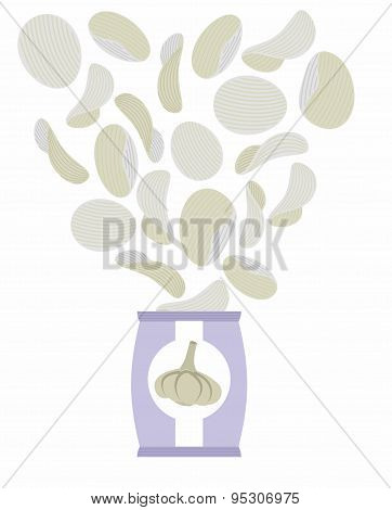 Potato chips taste of garlic. Packaging, bag of chips on a white background. Chips flying out from