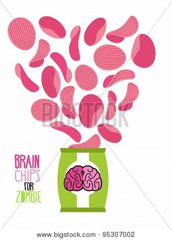 Potato chips taste  brain. Special zombies chips. Packaging, bag of chips on a white background. Chi