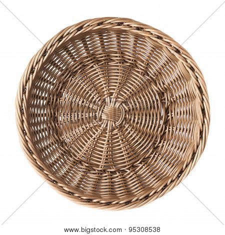 Empty fruit wicker basket bowl isolated