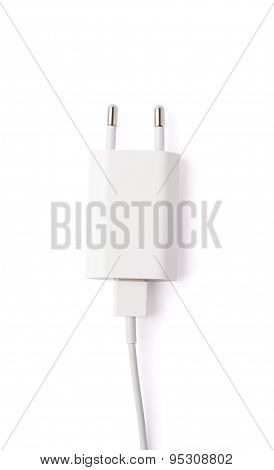 Fragment of the white adapter charger isolated