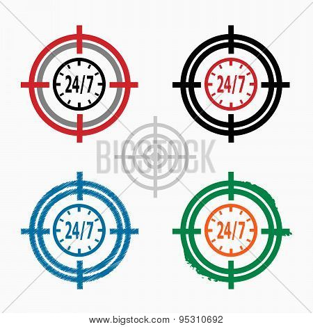 24 Hours Service Sign On Target Icons Background
