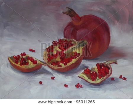 Oil painting of pomegranate