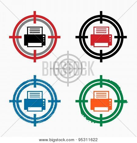 Printer On Target Icons Background