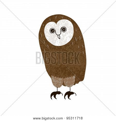 Owl. Cute Cartoon Character, Hand-drawn, Grunge Textured