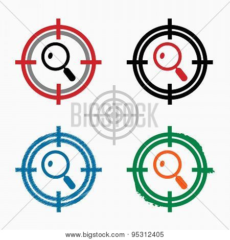 Magnifying Glass On Target Icons Background