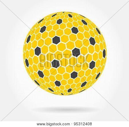 Abstract 3d orange honeycomb sphere vector background