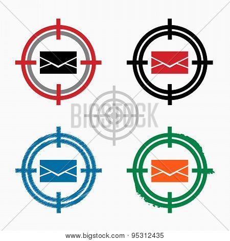 Envelope Icon On Target Icons Background