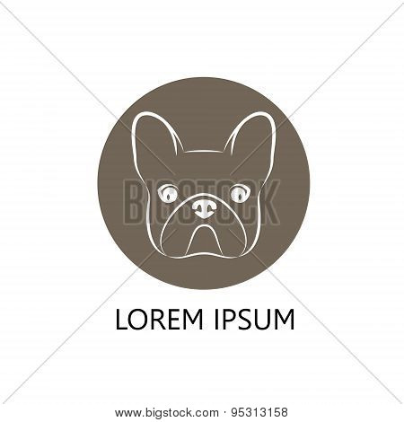 Stylized head of a dog on brown background