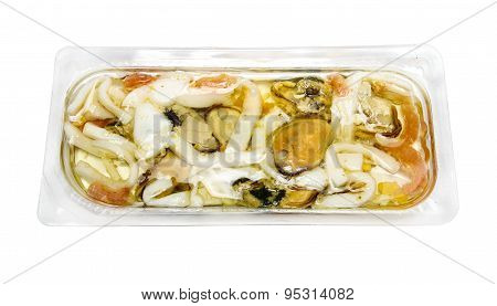 Seafood Salad: Mussels, Shrimps, Squids