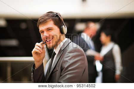 customer service operator talking
