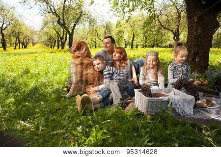 Cheerful Family Having A Picnic.
