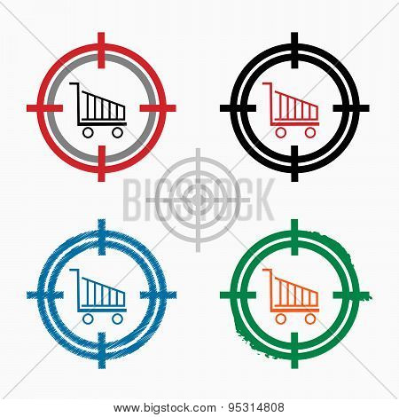 Shopping Cart On Target Icons Background