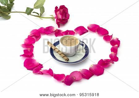 Pink Rose Lobes Of Roses And A Cup Of Coffee At Center