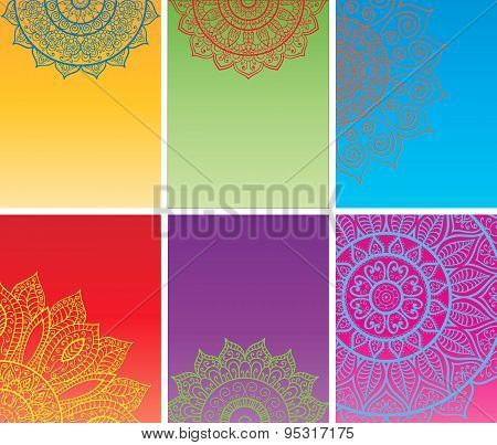 Set of multicolor cards with mandala.