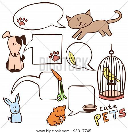 Set Of Cute Hand Drawn Pets And Speech Bubbles