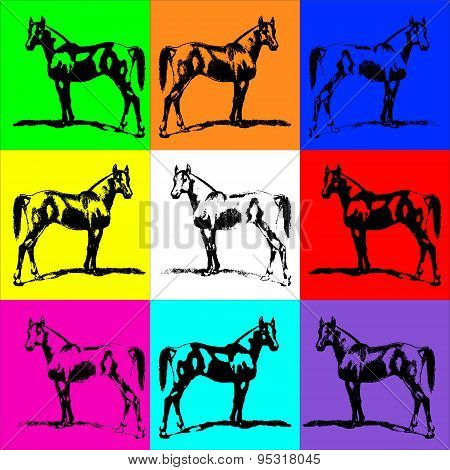 Horse Stallion Silhouette (arab). Bright Background Color. Collection.