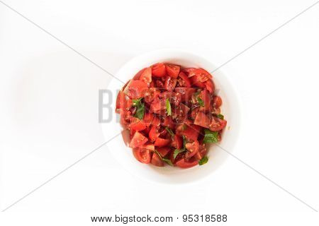 Smal Bowl With Tomatoes And Basil