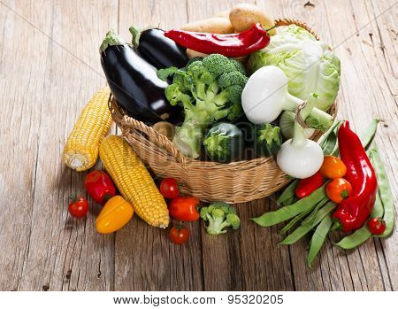 Mix Green Vegetables In Wicker Basket