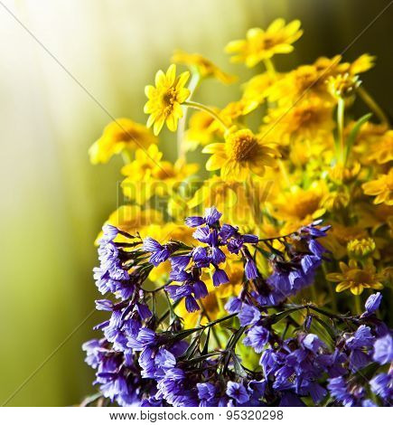 Beautiful flower background with yellow chamomile and purple flowers, wedding card, summer flowers,