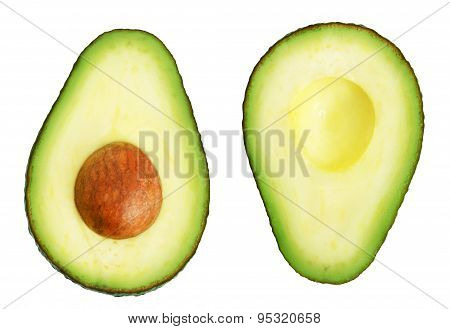 Two slices of avocado