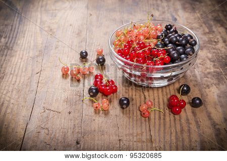currant berries in glass plate on table