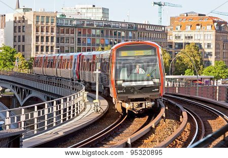 Train Arrives At U-bahn Station In Hamburg, Germany