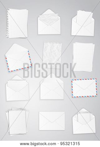 Set of envelopes and paper