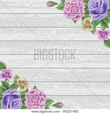 Vintage Wood Background With Roses