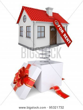 Gift box with red band and house for rent