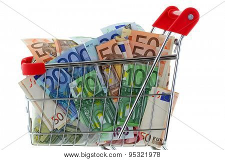 Closeup of a shopping cart trolley full of Euro Banknotes, isolated on white