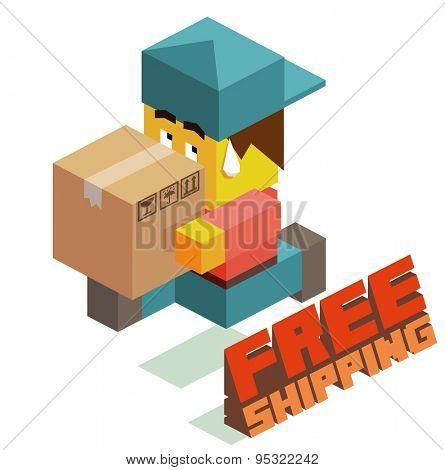 free shipping boy. vector illustration