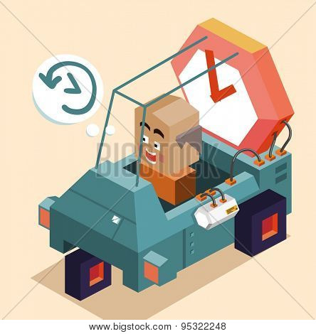 Back to future time machine. Vector illustration