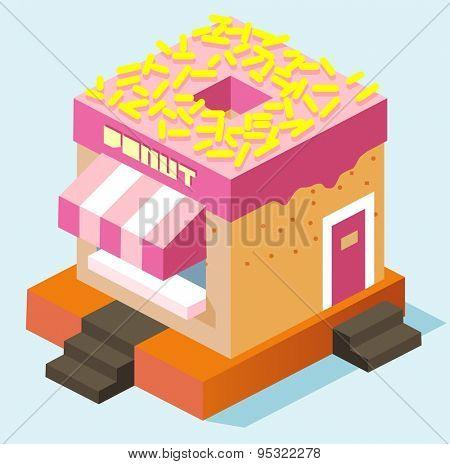 ping roofed donutstall. vector illustration