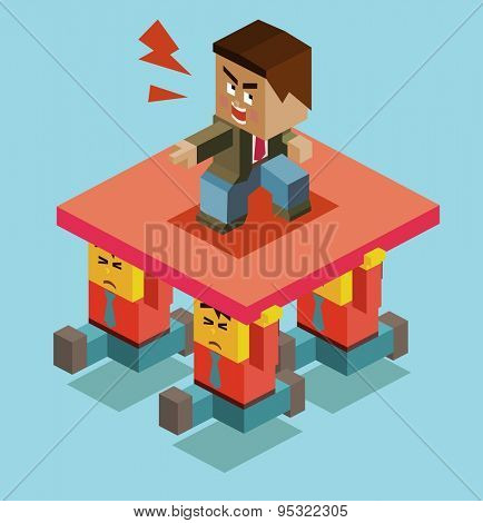 cruel boss of employee. vector illustration