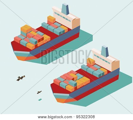 two cargo ship. vector illustration