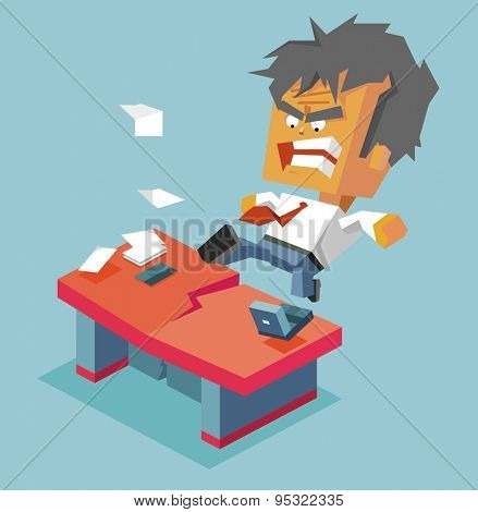 Split desk by anger. vector illustration
