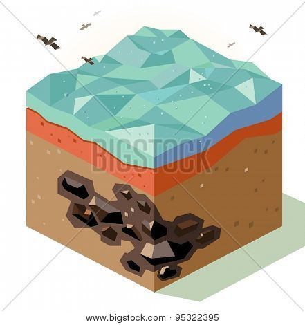 offshore coal mining. vector illustration